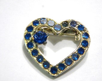 Blue Rhinestone Heart Pin Vintage