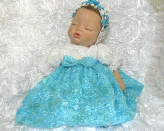 VICTORIAN DRESS for Reborn Doll or Baby  Turqoise and white Embroidered Tulle size 0-3 month