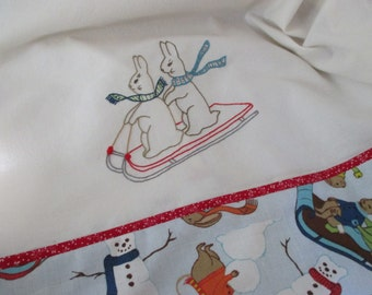 Rabbits Sledding Hand Embroidered Tea / Dish Towel