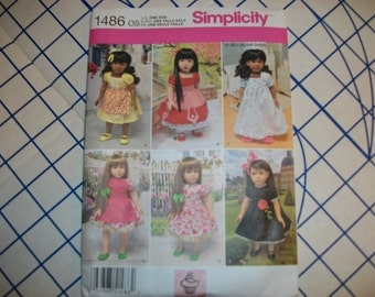 Simplicity 1486 dolls clothes pattern for 18 inch dolls