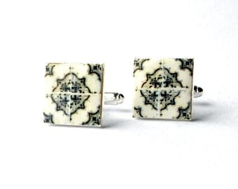 Portugal  Antique Tile Replica CUFFLINKS,  Ilhavo,  Black and Gray - 17mm