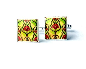 Portugal  Antique Tile Replica CUFFLINKS, Pink and Green, ART NOUVEAU  17mm  (see actual Facade photos)
