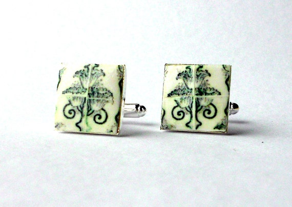 Portugal  Antique Tile Replica CUFFLINKS,  Aveiro Thistle  Art Nouveau- Gray Green - 17mm