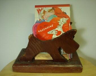 Vintage Primitive Scottie Dog Letter Holder Napkin Holder Card Holder Wooden letter holder Scotty