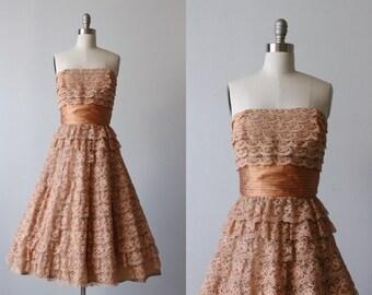 1950s Vintage Dress / 50s Dress / Lace Dress / Formal Dress / Mocha Kiss