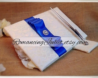 Lovely Satin and Lace Wedding Guestbook Set with Vibrant Rhinestone Accent..You Choose Your Colors..Shown in ivory/royal blue