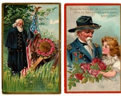 2 Early 1900's // DECORATION DAY POSTCARDS // Civil War Veteran Images // Tucks Saxony // Memorial Day Postcards