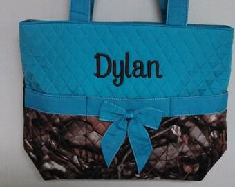 Personalized Blue Camo Print Diaper Bag /Tote 3 Piece