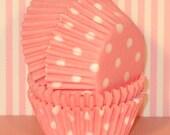 Mini Light Pink Polka Dot and Solid Cupcake Liners  (50)