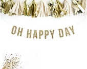 OH HAPPY DAY Glitter Garland. Wedding Recpetion Decoration. Adult Birthday. Wedding Shower. Dessert Table