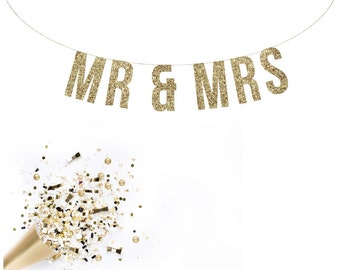 MR & MRS Wedding Gold Glitter Garland. Reception Banner.  Wedding Banner