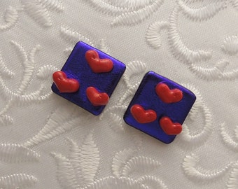 Heart Earrings - Valentine Earrings - Stud Earrings - Dichroic Earrings - Post Earrings - Dichroic Fused Glass Earrings - Small Stud 1558
