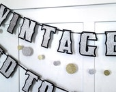 AGeD tO PERFECTiON and ViNTAGE YeAR Banner - 40th 50th 60th 70th 80th 90th 100th  - silver glitter