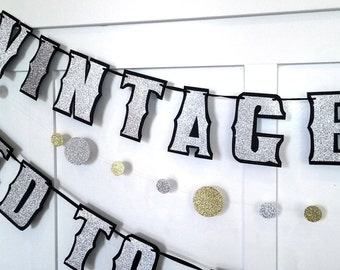AGED tO PERFECTiON Banner and ViNTAGE YEAR Banner, Birthday Banner, 40th Birthday Party, 50th Birthday Party, 60th Birthday Party, 70th