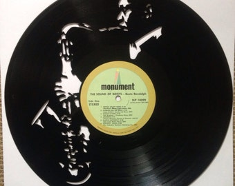 SAX PLAYER vinyl record silhouette