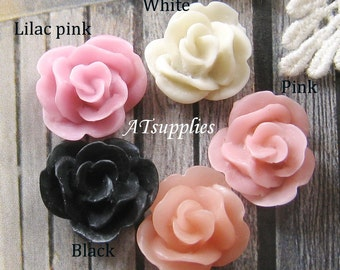 17mm - Assorted Lovely Rose cabochon - 16 pcs (CA837-Ass-5C)