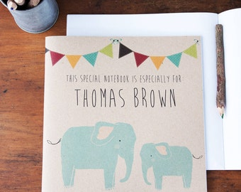 Personalised Elephant Notebook - Eco-friendly and Personalised with a name of your choice. It's a great gift for adults or children.
