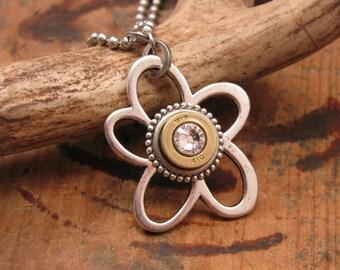Bullet Jewelry - Flower Necklace - Shotgun Casing Jewelry - Flower Power Openwork Daisy w/410g Shotshell Silver Pendant Necklace