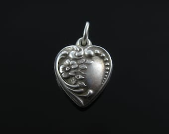 Art Deco Repousse Puffy Heart Flower Motif Sterling Silver Charm Mary