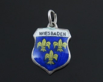 Vintage Sterling Silver Wiesbaden Fleur De Lis Travel Shield Coat of Arms Charm