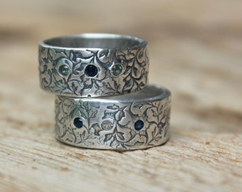 wedding bands with sapphires . wide wedding ring set . engraved eternity band ring . orions belt silver wedding ring set by peacesofindigo