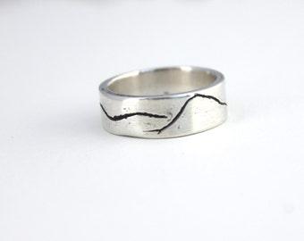 mountain landscape wedding band. unisex recycled silver wedding ring . 6mm wide mountain wedding ring by peaces of indigo