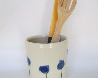 Cobalt Blue and White Poppies Flower Utensil Holder Wine Cooler Handmad Pottery