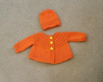 Hand Knitted - Burnt Orange or Aqua Blue Baby Sweaters with Matching Buttons