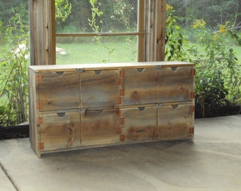 """Reclaimed Wood look Dresser Old Barn Wood Look 48 wide X 24"""" Grey Brown TV Cabinet Entertainment Center bookcase Primitive Storage Bench"""