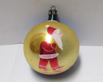 Christmas Ornament POLAND Mercury Glass Hand Painted Santa Claus Scenic Tree Trim Vintage 50s Christmas Glass Ball Blue Red