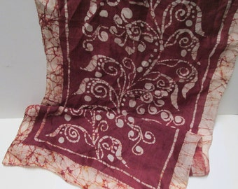 Batik Silk Scarf Long Hand Dyed Vintage Boho Silk Scarf Bohemian Style Shawl Wrap Brown Merlot Wine India