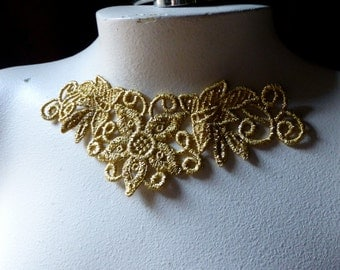 GOLD Lace Applique in Venise Lace for Jewelry Necklaces, Garments, Costume Design SGLA 400