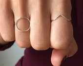 Simple sterling silver chevron ring plain thin silver ring Juliet Jewelry Chicago Designer