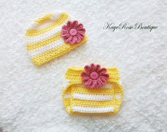 3 to 6 Month Old Baby Girl Crochet Flower Hat and Diaper Cover Set Pink Yellow and White Stripes