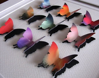 INVENTORY CLEARANCE Northern Lights, Aurora Borealis Upcycled 3D Layered Butterfly Art. Pink, Purple, Orange, Red, Green. 8x8