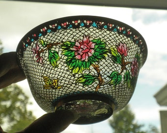 Exquisite Chinese Plique A Jour Bowl with Stand - Tree Peony and Bird - Footed Enamel Bowl