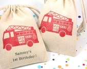 Red Fire Truck Favor Bags 4x6 with or without Personalization - Fire Truck party, boys birthday party favor