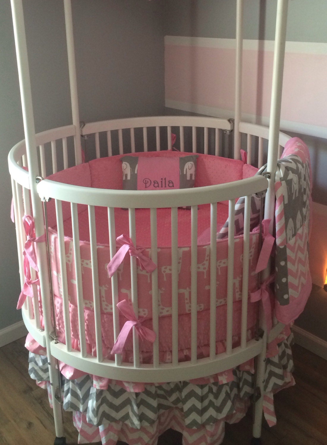 Round Crib Bedding Set Pink And Gray Made By Butterbeansboutique
