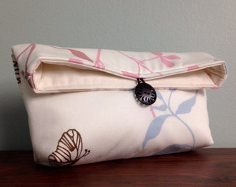 Butterfly Clutch, Spring Fashion, Cream Blue Pink Clutch, Pastel Clutch, Spring Wedding Bridal Clutch, Bridesmaid Gift, Makeup Bag