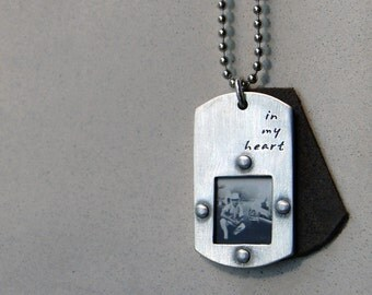 Dog Tag Photo Necklace-Alden Necklace- Modern Dog Tag with Rivets Personalized with Words, Name and Date.