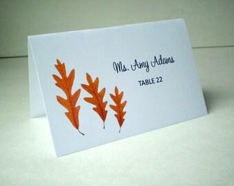 Brown Oak Leafs Place Cards - DIY You Edit - MS Word Template - Weddings, Parties etc Instant Download