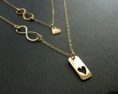 Infinity heart necklace, mother daughter jewelry, Mother daughter necklace, sterling silver or golden bronze infinity necklace, gift