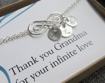 Grandma infinity bracelet, 1, 2,3,4 initials, double infinity initial bracelet, gift for grandmother, mom, godmother, aunt, friends