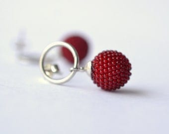 beaded globe post earrings red