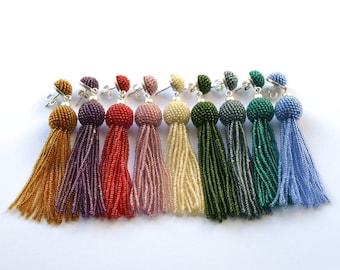 tassel earrings red fringe glass beads and silver