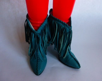 1980s Turquoise Fringed Ankle Boots WILD PAIR SZ 7