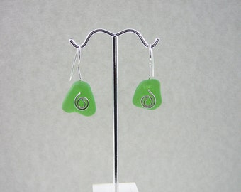 Kelly Green NH Sea Glass Earrings with a Sterling Silver Swirl