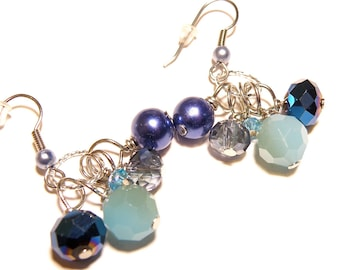30% OFF -- Shades of Blue Dangles Silver Earrings - Glass and Pearls