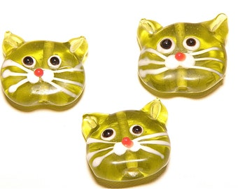 30% OFF -- DESTASH -- One (1) Olive Green Large Cat Head Lampwork Glass Bead