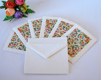Italian paper - six blank note cards - all one pattern- Italian multi-coloured Florentine-six envelopes - Ready to ship